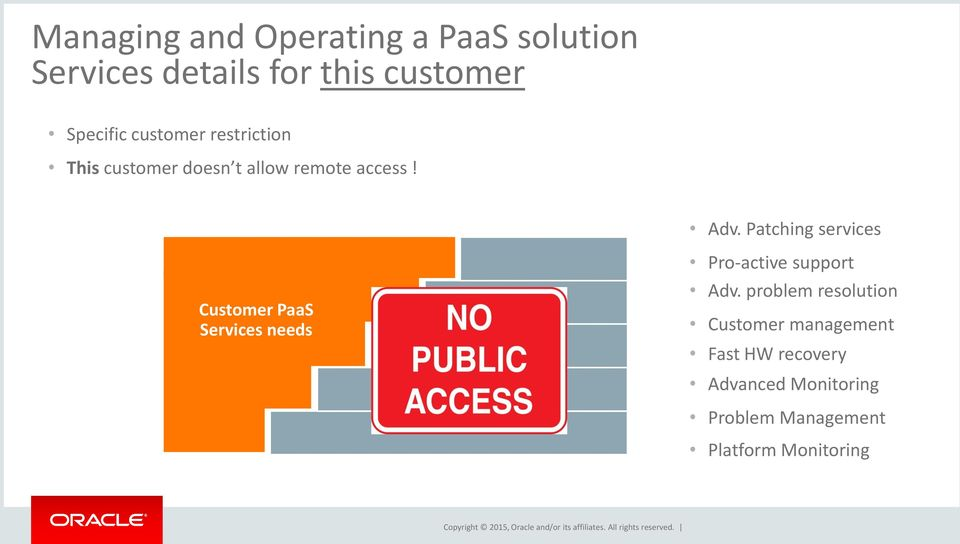 Patching services Customer PaaS Services needs Pro-active support Adv.