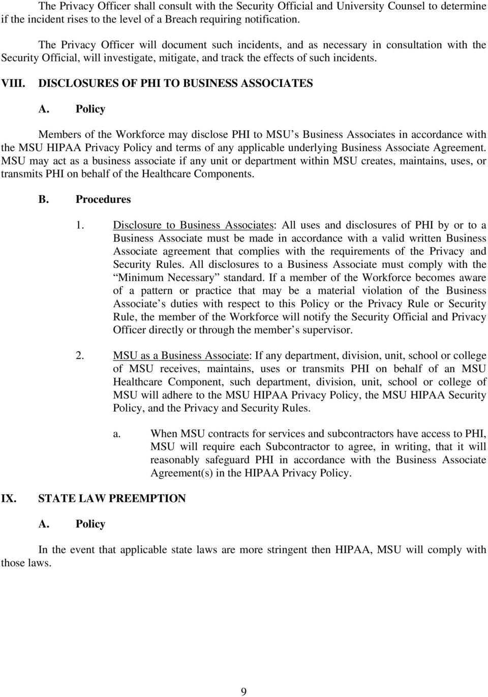 DISCLOSURES OF PHI TO BUSINESS ASSOCIATES A.