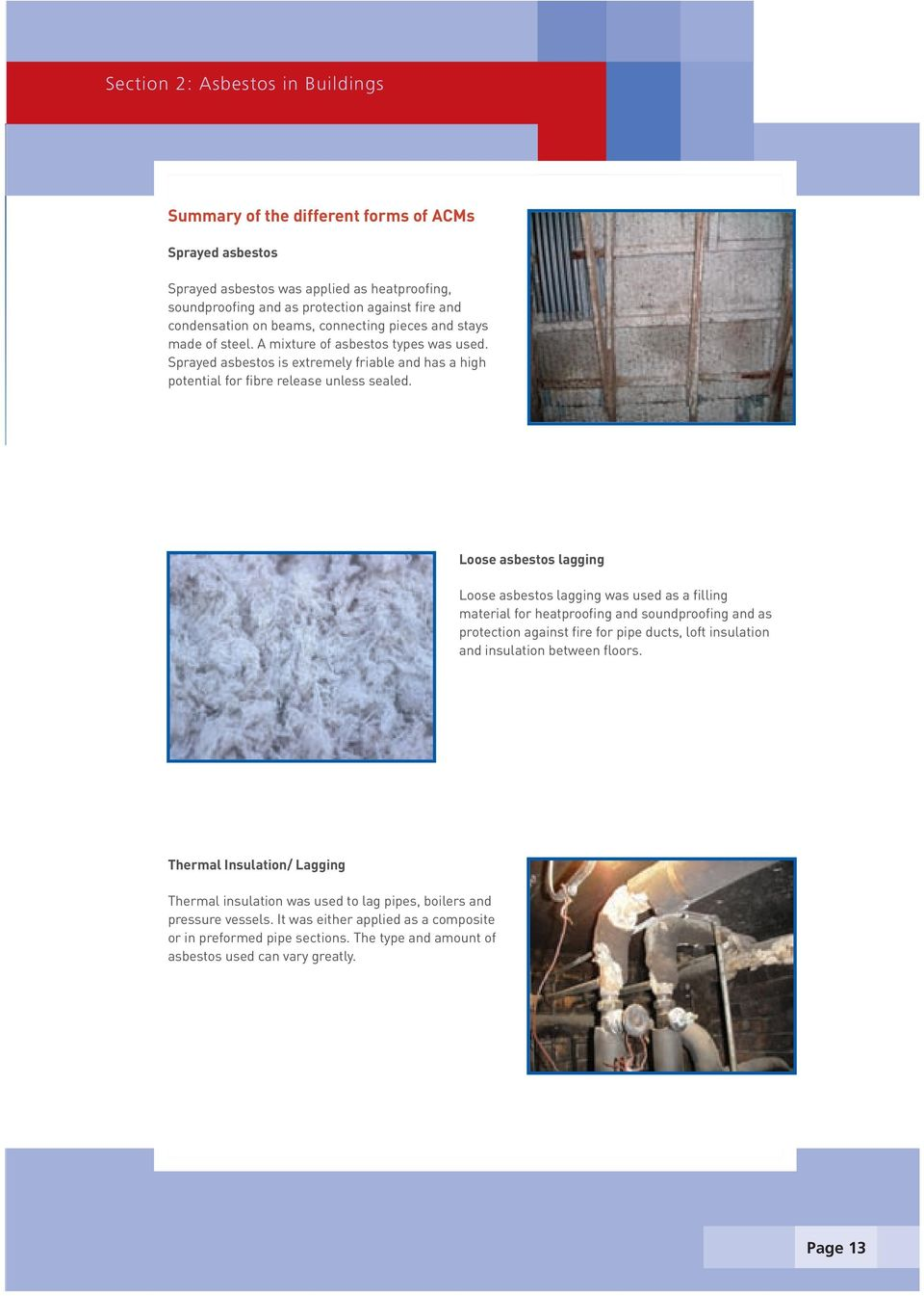 Loose asbestos lagging Loose asbestos lagging was used as a filling material for heatproofing and soundproofing and as protection against fire for pipe ducts, loft insulation and insulation between