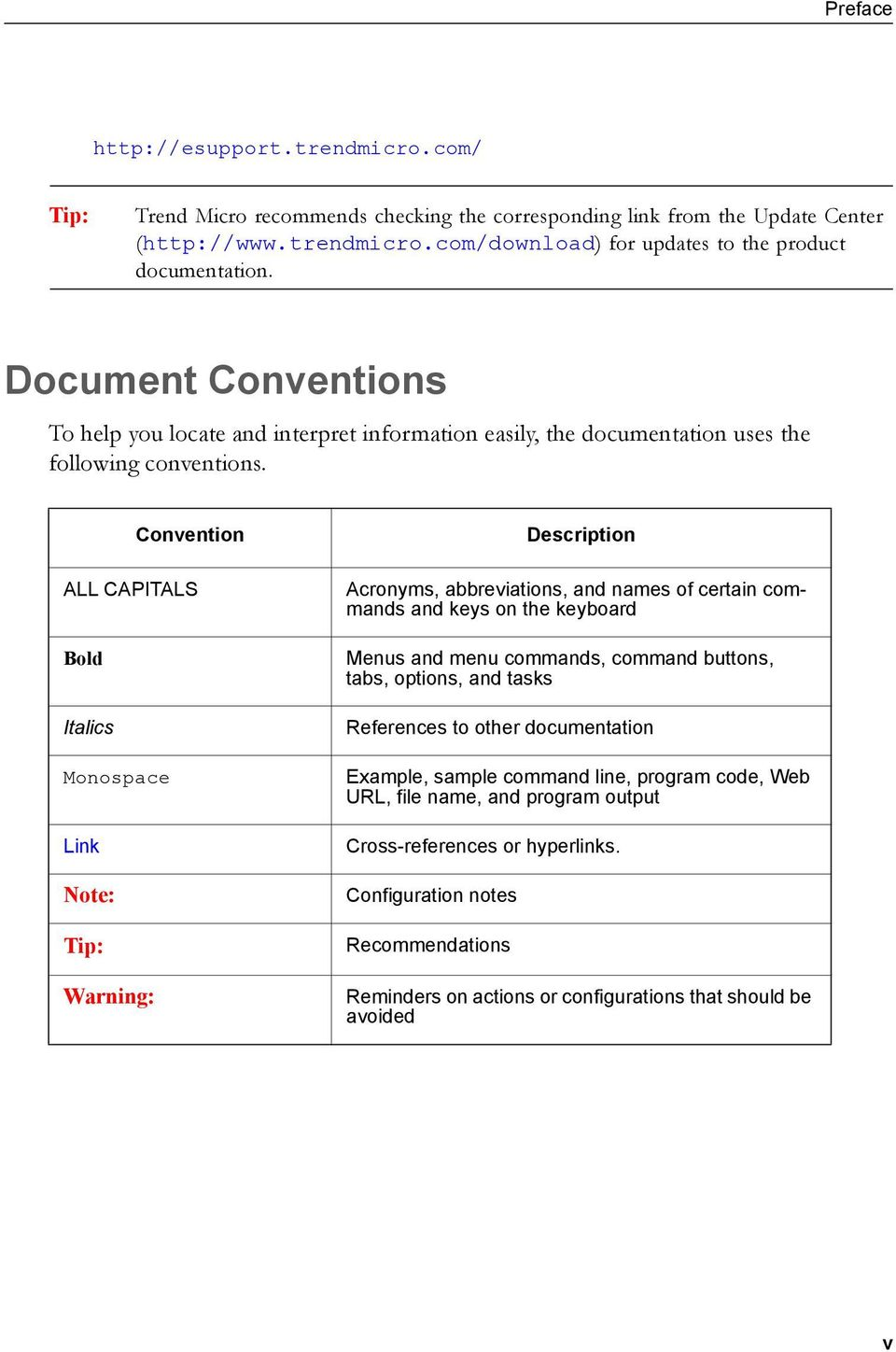 Convention ALL CAPITALS Bold Italics Monospace Link Tip: Warning: Description Acronyms, abbreviations, and names of certain commands and keys on the keyboard Menus and menu commands, command buttons,