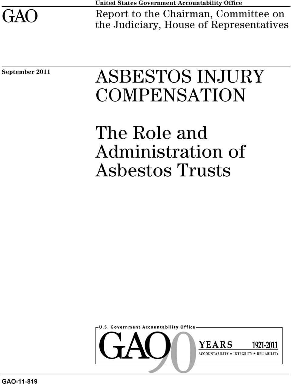 Representatives September 2011 ASBESTOS INJURY