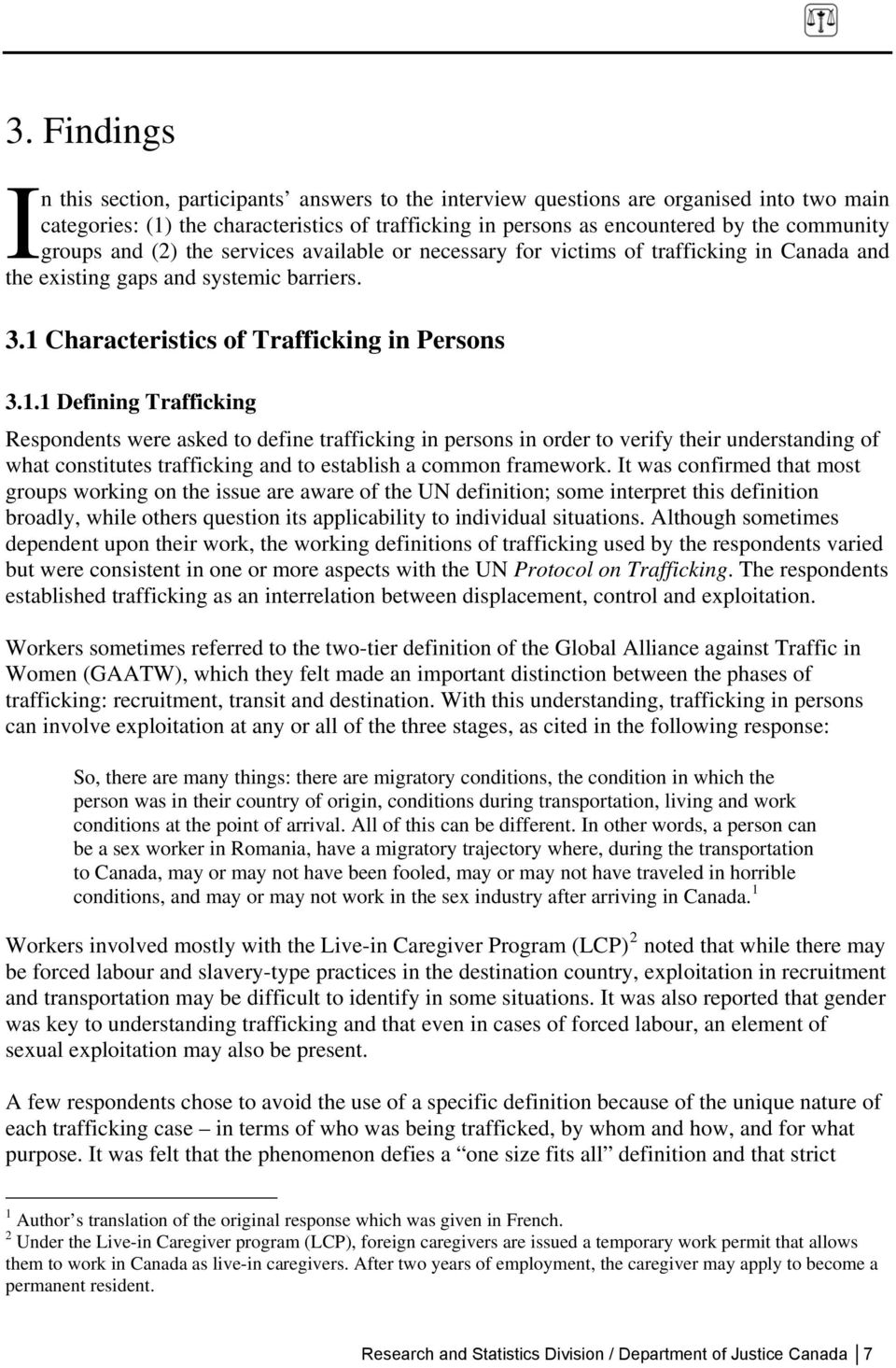 Characteristics of Trafficking in Persons 3.1.