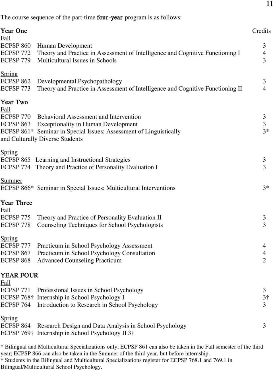 Year Two Fall ECPSP 770 Behavioral Assessment and Intervention 3 ECPSP 863 Exceptionality in Human Development 3 ECPSP 861* Seminar in Special Issues: Assessment of Linguistically 3* and Culturally