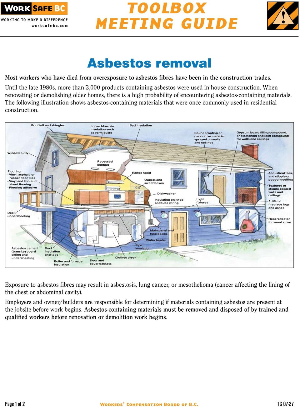 When renovating or demolishing older homes, there is a high probability of encountering asbestos-containing materials.