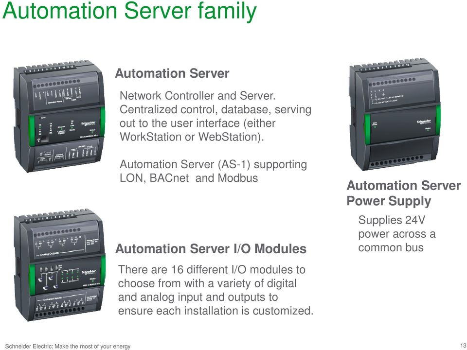 Automation Server (AS-1) supporting LON, BACnet and Modbus Automation Server I/O Modules There are 16 different I/O