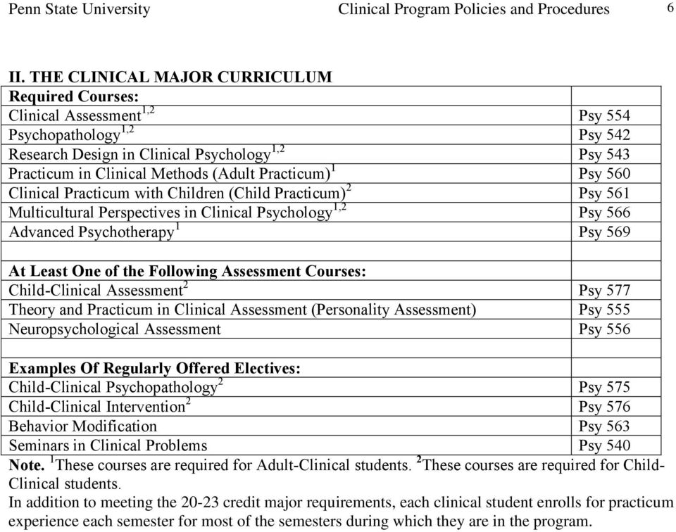 Practicum) 1 Psy 560 Clinical Practicum with Children (Child Practicum) 2 Psy 561 Multicultural Perspectives in Clinical Psychology 1,2 Psy 566 Advanced Psychotherapy 1 Psy 569 At Least One of the