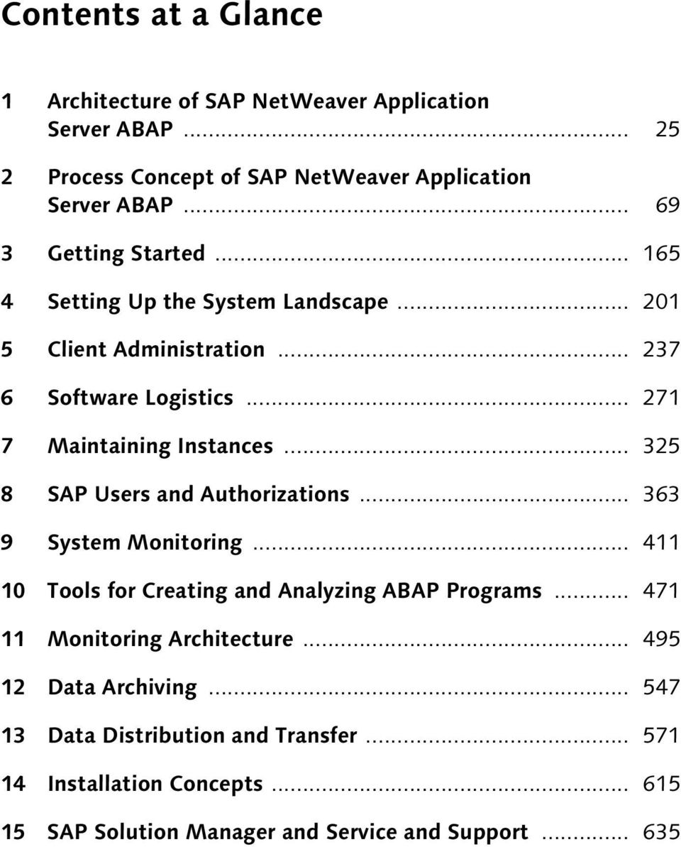 .. 325 8 SAP Users and Authorizations... 363 9 System Monitoring... 411 10 Tools for Creating and Analyzing ABAP Programs.