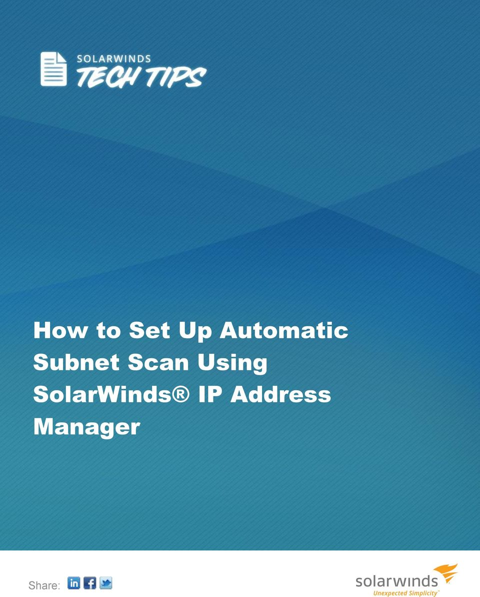 How to Set Up Automatic Subnet Scan Using SolarWinds IP