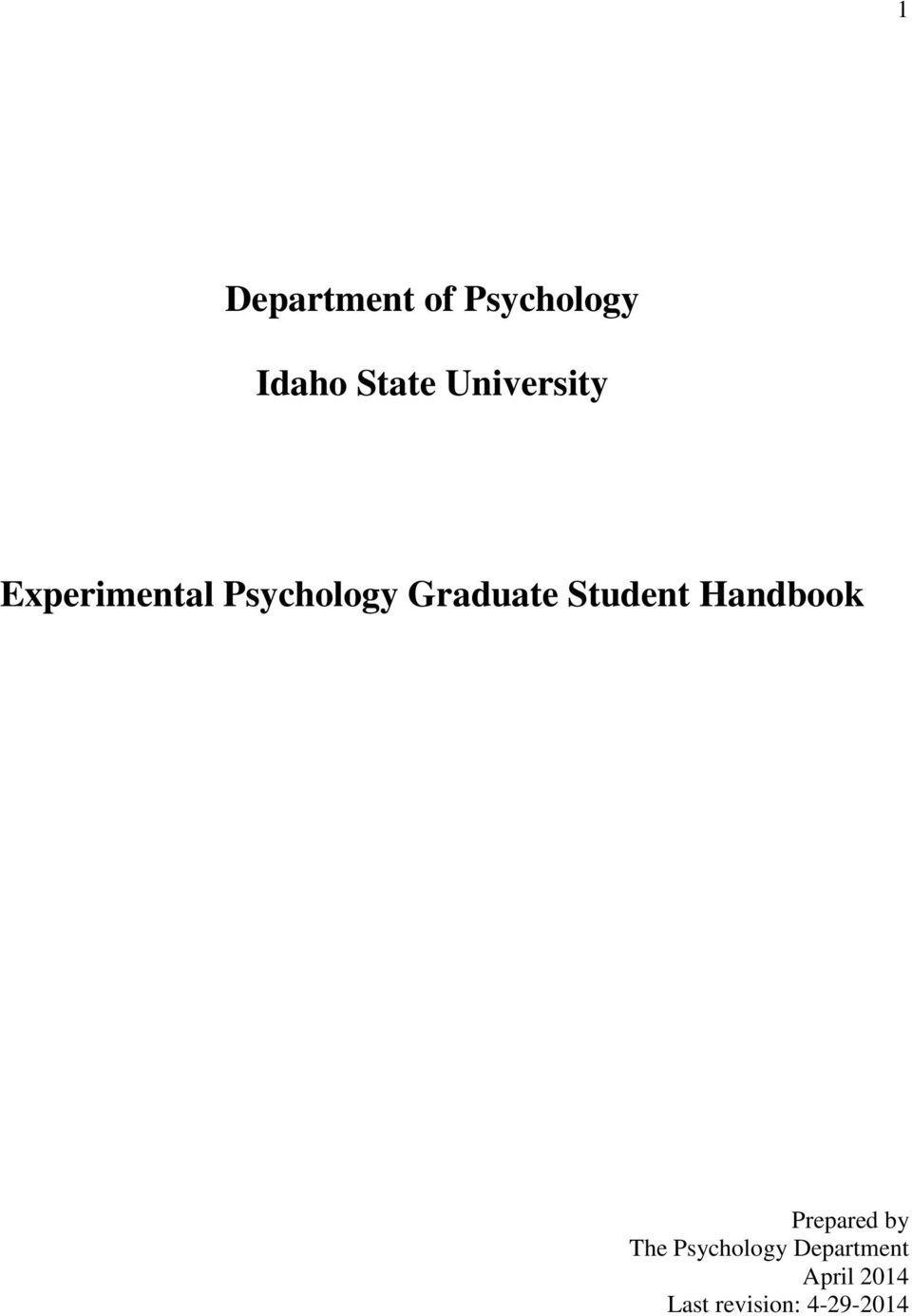 Student Handbook Prepared by The Psychology