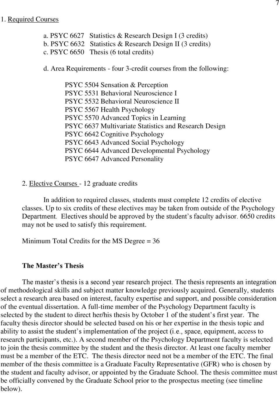 PSYC 5570 Advanced Topics in Learning PSYC 6637 Multivariate Statistics and Research Design PSYC 6642 Cognitive Psychology PSYC 6643 Advanced Social Psychology PSYC 6644 Advanced Developmental