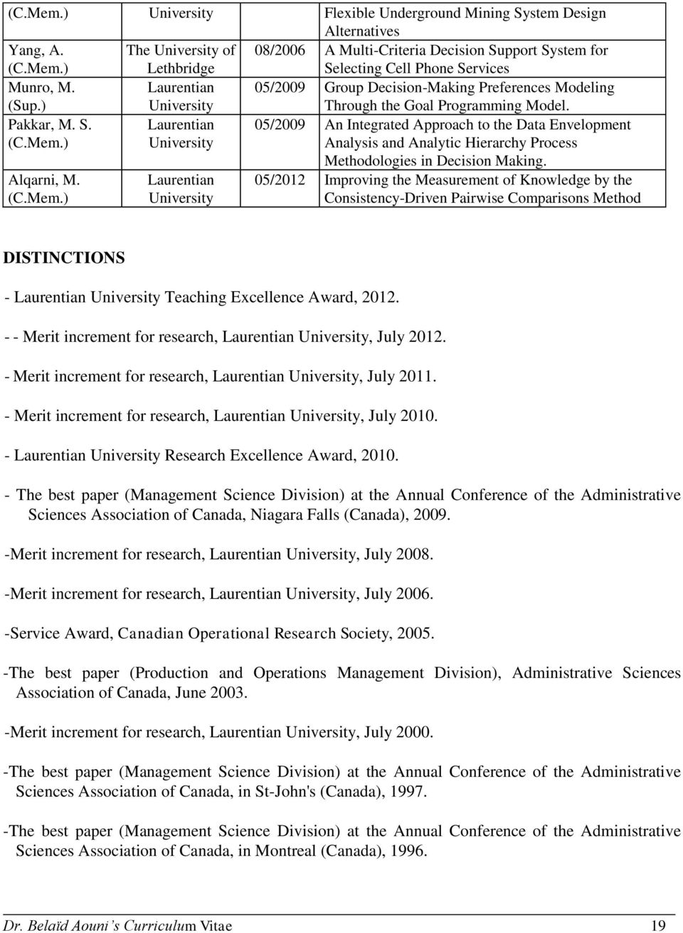 ) Laurentian University 05/2009 An Integrated Approach to the Data Envelopment Analysis and Analytic Hierarchy Process Alqarni, M. (C.Mem.) Laurentian University Methodologies in Decision Making.