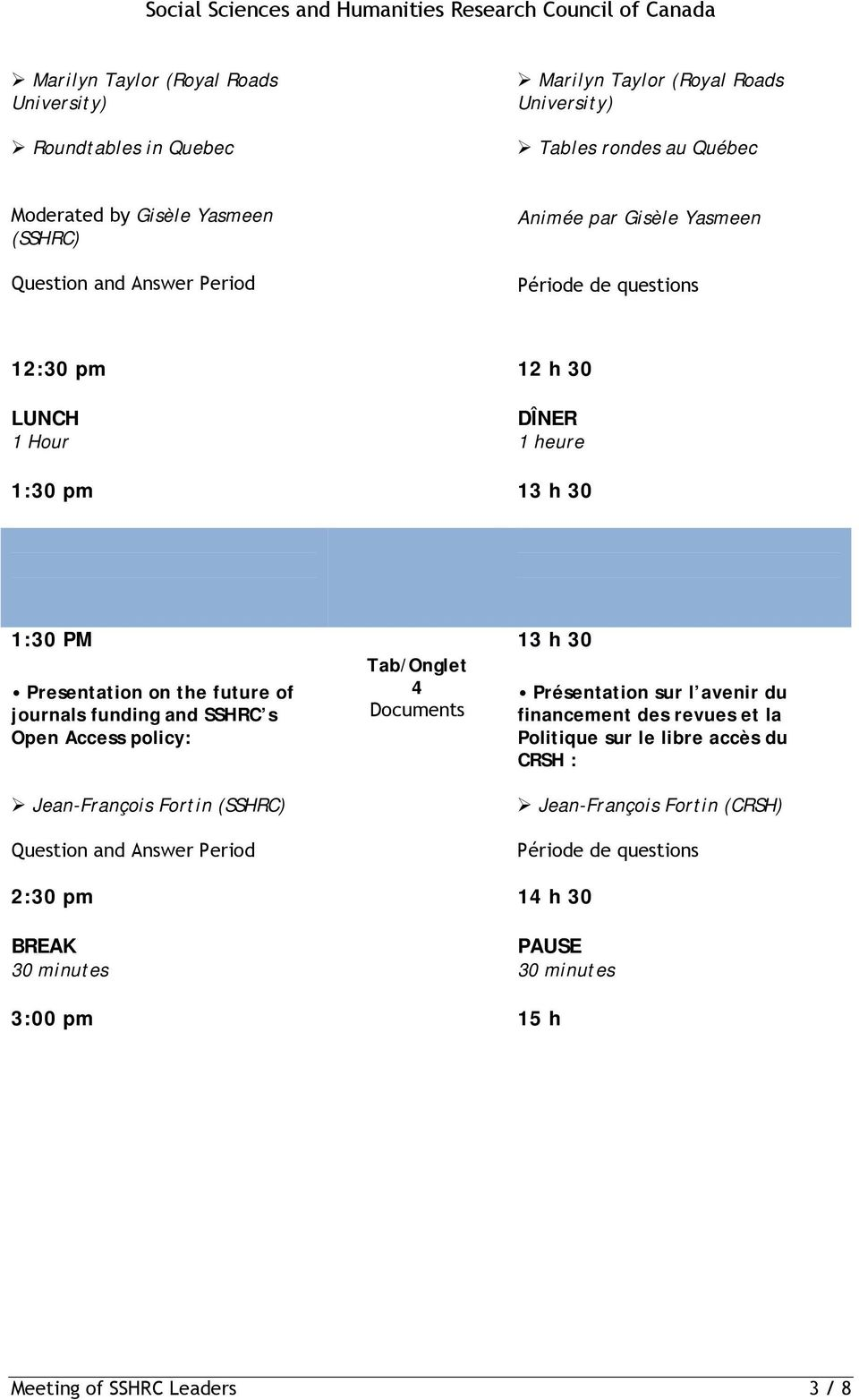 FOR ACCÈS LIBRE ET FINANCEMENT SCHOLARLY JOURNALS DES REVUES SAVANTES 1:30 PM 13 h 30 Tab/Onglet Presentation on the future of 4 Présentation sur l avenir du journals funding and SSHRC s Documents