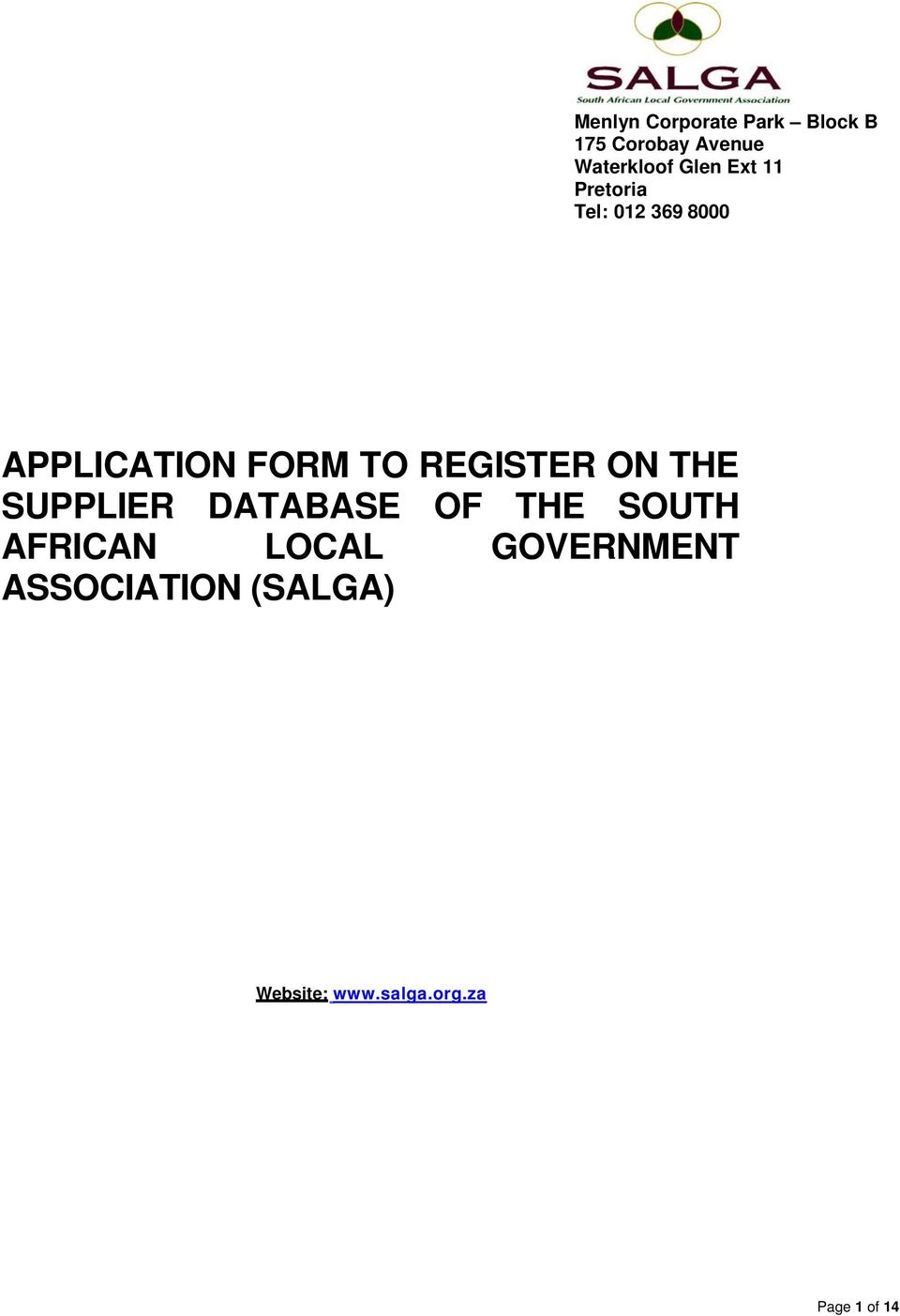 REGISTER ON THE SUPPLIER DATABASE OF THE SOUTH AFRICAN LOCAL