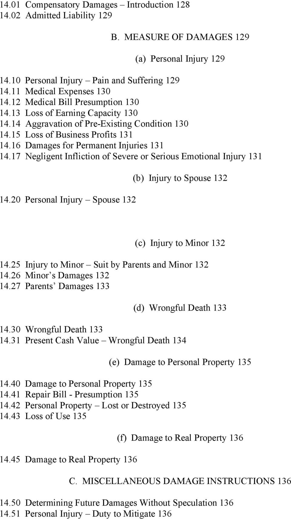 17 Negligent Infliction of Severe or Serious Emotional Injury 131 14.20 Personal Injury Spouse 132 (b) Injury to Spouse 132 (c) Injury to Minor 132 14.