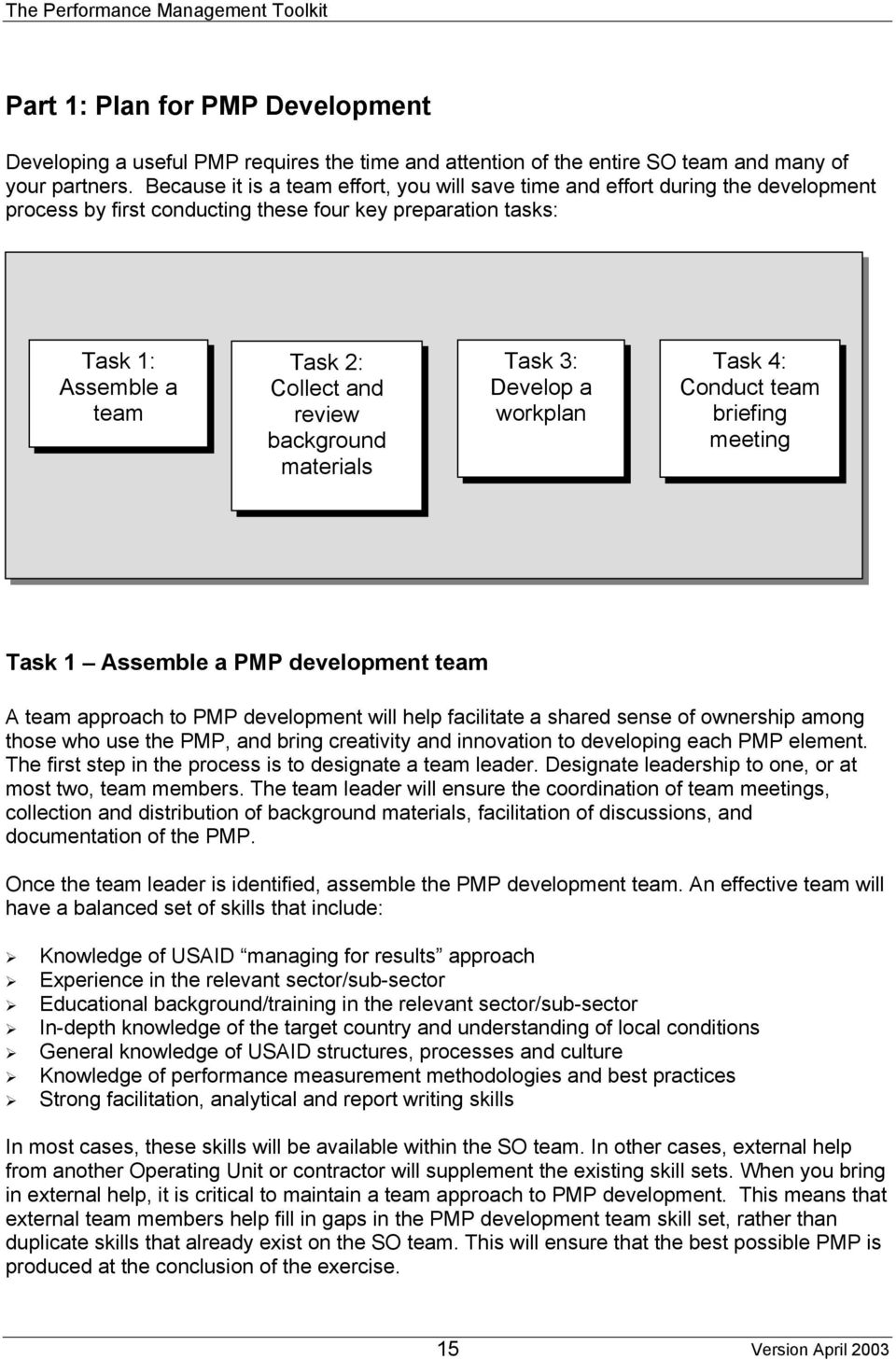 background materials Task 3: Develop a workplan Task 4: Conduct team briefing meeting Task 1 Assemble a PMP development team A team approach to PMP development will help facilitate a shared sense of