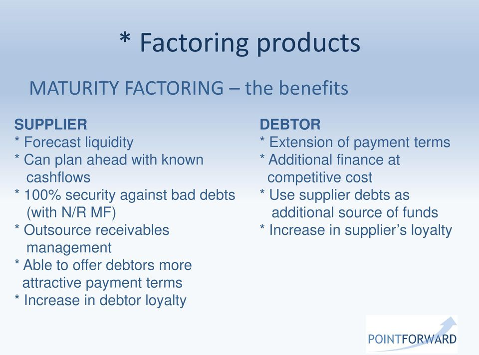 debtors more attractive payment terms * Increase in debtor loyalty DEBTOR * Extension of payment terms *