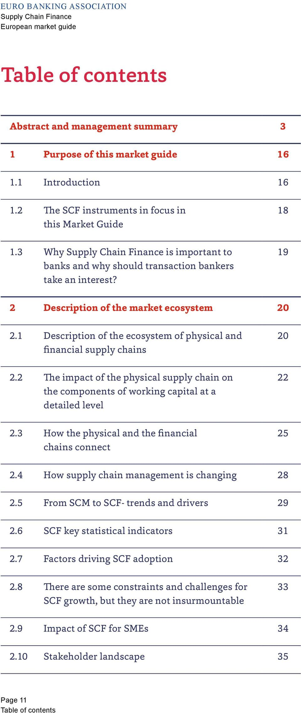 1 Description of the ecosystem of physical and financial supply chains 20 2.2 The impact of the physical supply chain on the components of working capital at a detailed level 22 2.