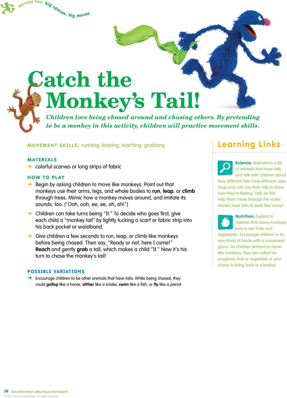 Point out that monkeys use their arms, legs, and whole bodies to run, leap, or climb through trees. Mimic how a monkey moves around, and imitate its sounds, too. ( Ooh, ooh, ee, ee, ah, ah!