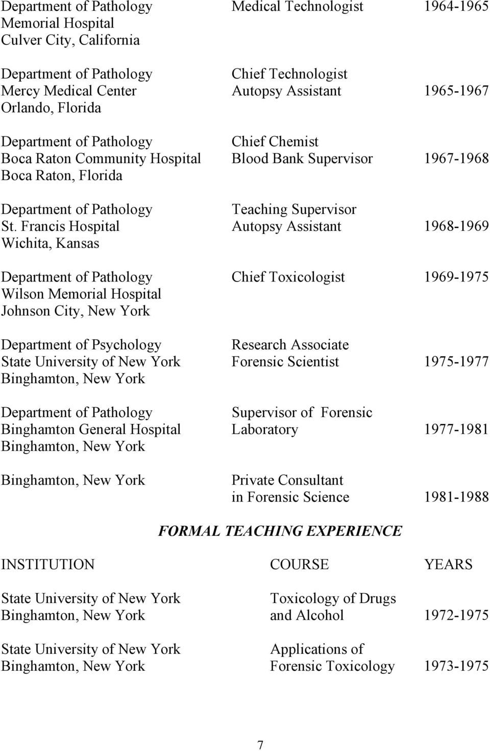 Francis Hospital Autopsy Assistant 1968-1969 Wichita, Kansas Department of Pathology Chief Toxicologist 1969-1975 Wilson Memorial Hospital Johnson City, New York Department of Psychology Research