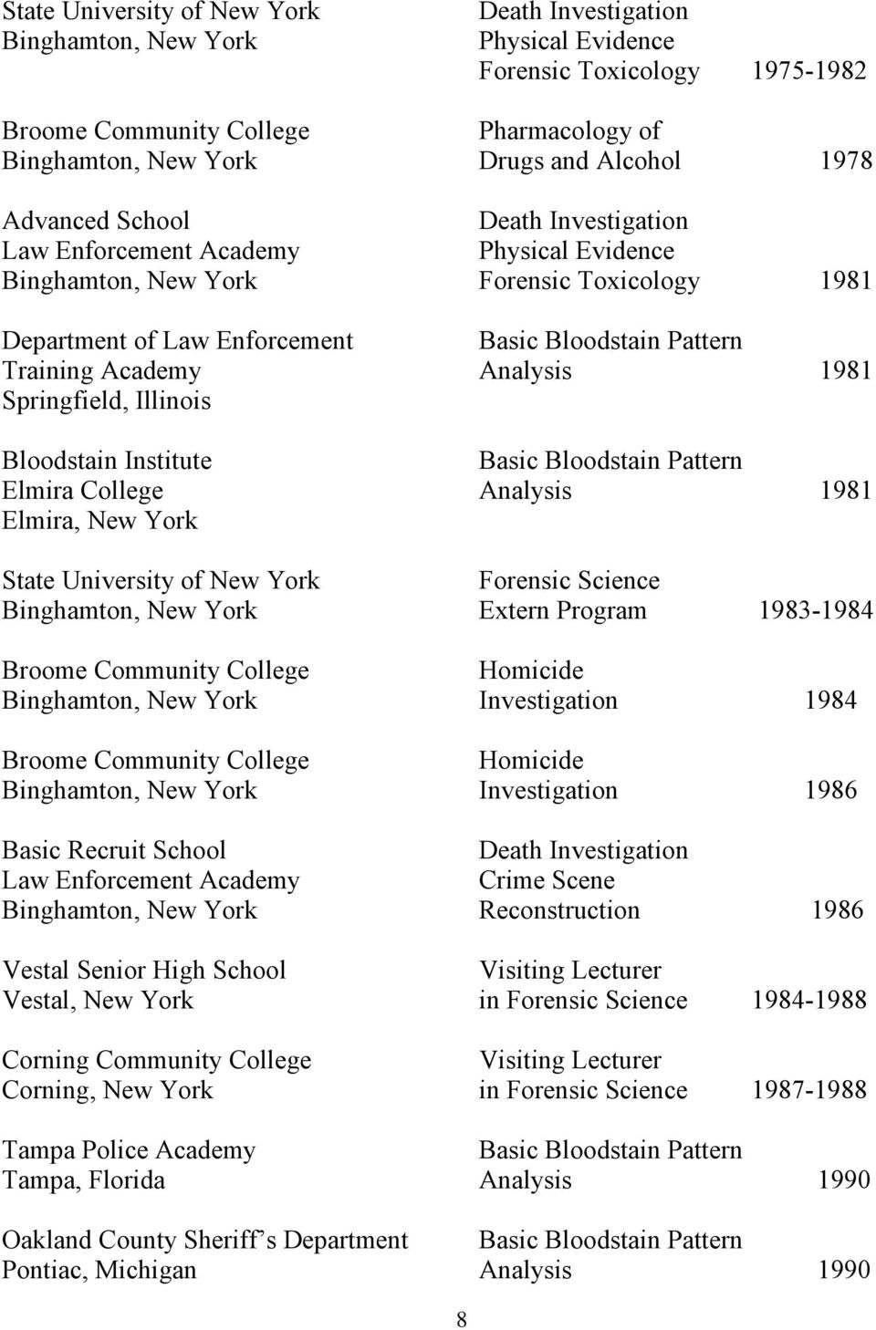 Illinois Bloodstain Institute Basic Elmira College 1981 Elmira, New York State University of New York Forensic Science Binghamton, New York Extern Program 1983-1984 Broome Community College Homicide