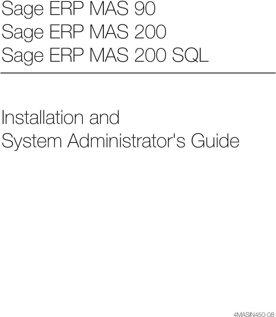 SQL Installation and System