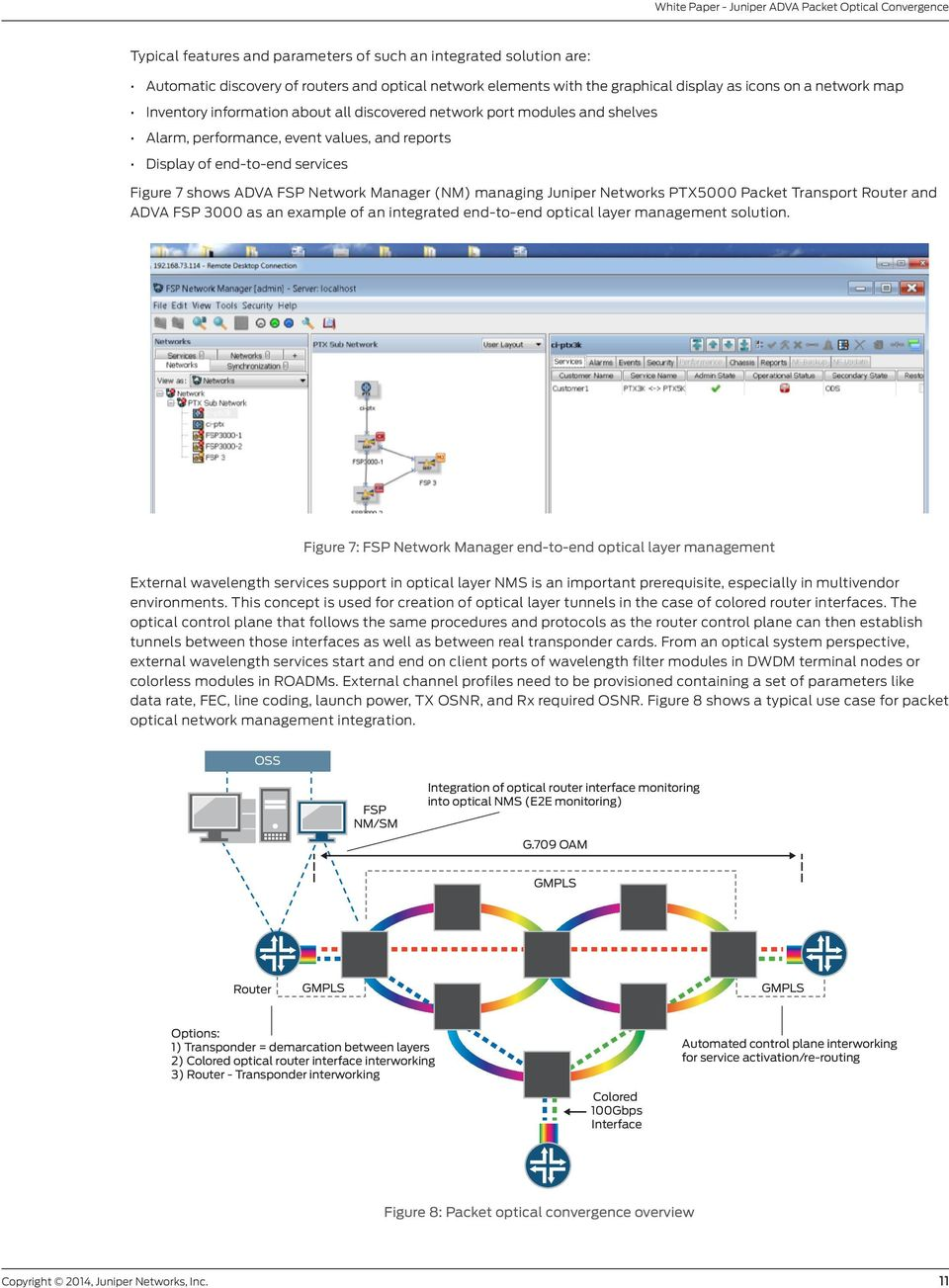 Juniper Networks PTX5000 Packet Transport Router and ADVA FSP 3000 as an example of an integrated end-to-end optical layer management solution.