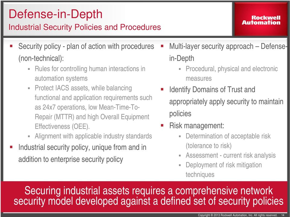 Alignment with applicable industry standards Industrial security policy, unique from and in addition to enterprise security policy Multi-layer security approach Defensein-Depth Procedural, physical