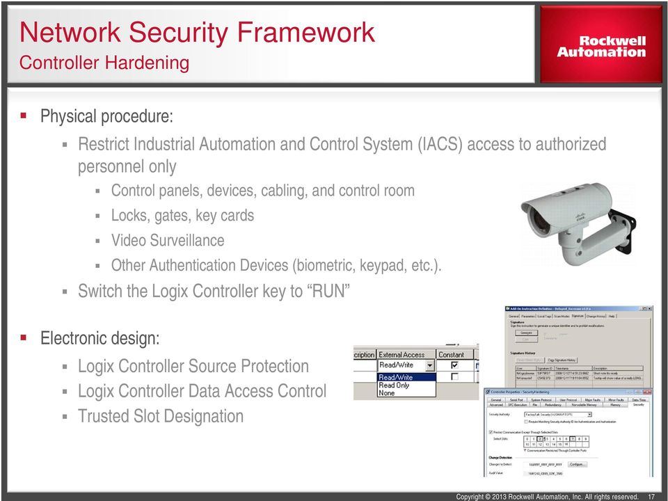 key cards Video Surveillance Other Authentication Devices (biometric, keypad, etc.).