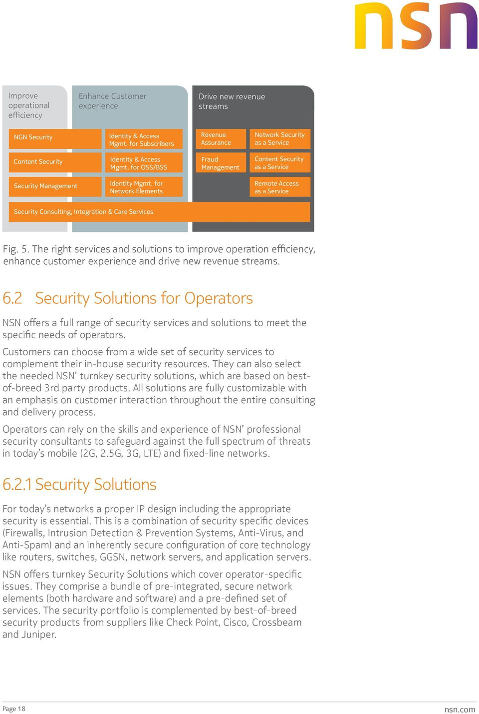 for Network Elements Remote Access as a Service Security Consulting, Integration & Care Services Fig. 5.