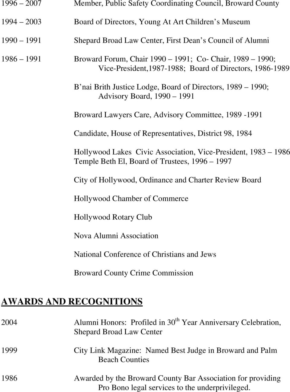 1991 Broward Lawyers Care, Advisory Committee, 1989-1991 Candidate, House of Representatives, District 98, 1984 Hollywood Lakes Civic Association, Vice-President, 1983 1986 Temple Beth El, Board of