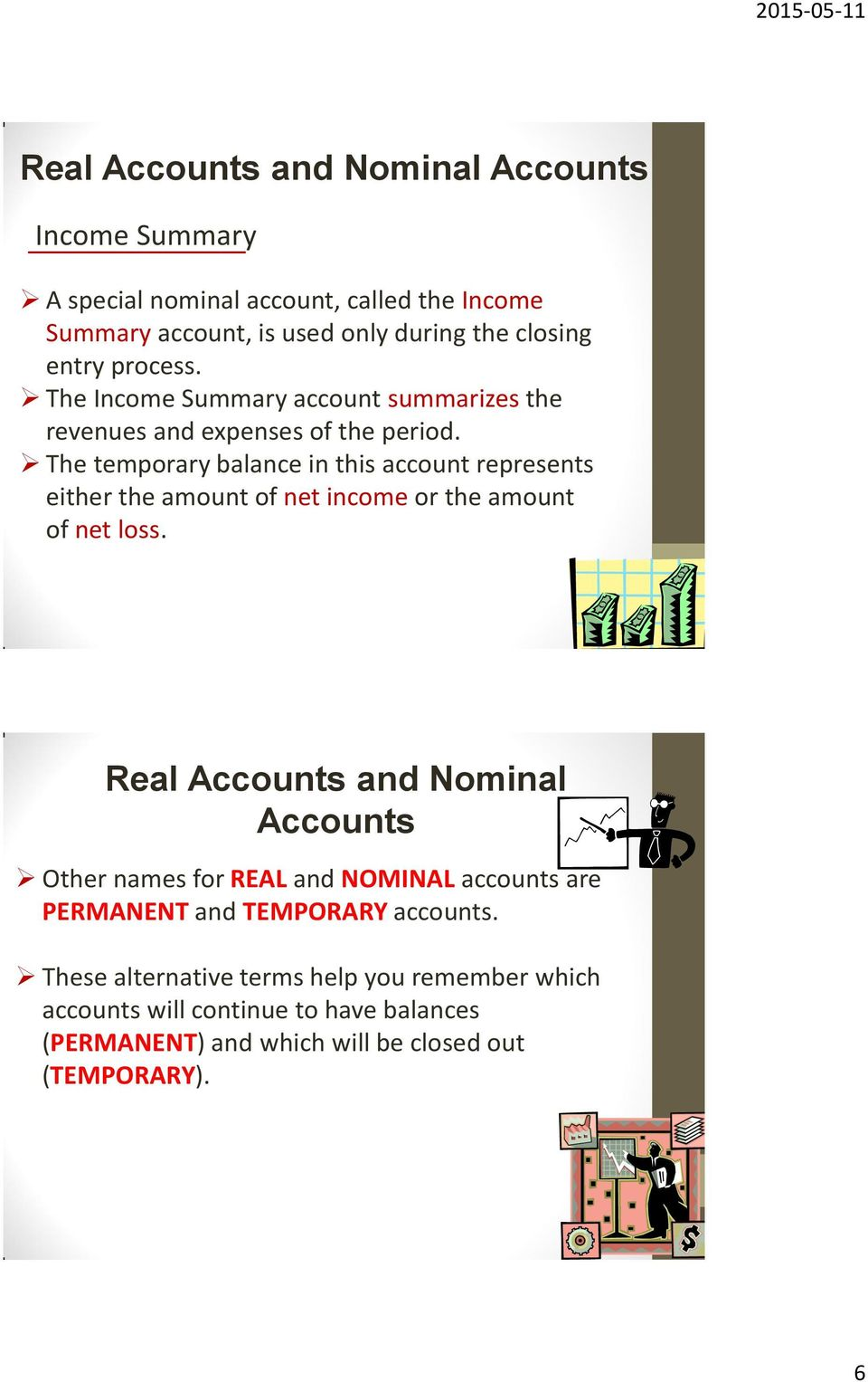 The temporary balance in this account represents either the amount of net income or the amount of net loss.
