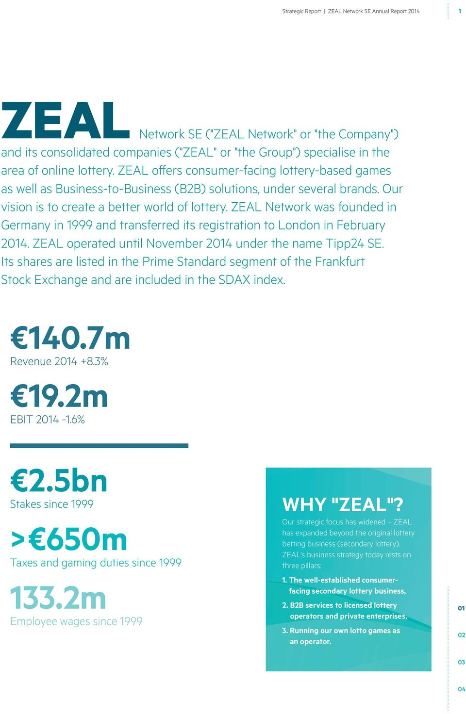 ZEAL Network was founded in Germany in 1999 and transferred its registration to London in February 24. ZEAL operated until November 24 under the name Tipp24 SE.