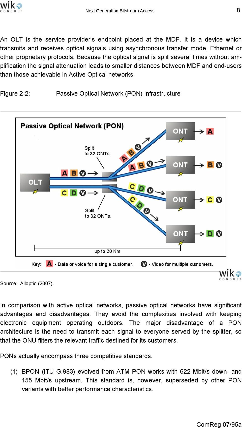 Because the optical signal is split several times without amplification the signal attenuation leads to smaller distances between MDF and end-users than those achievable in Active Optical networks.