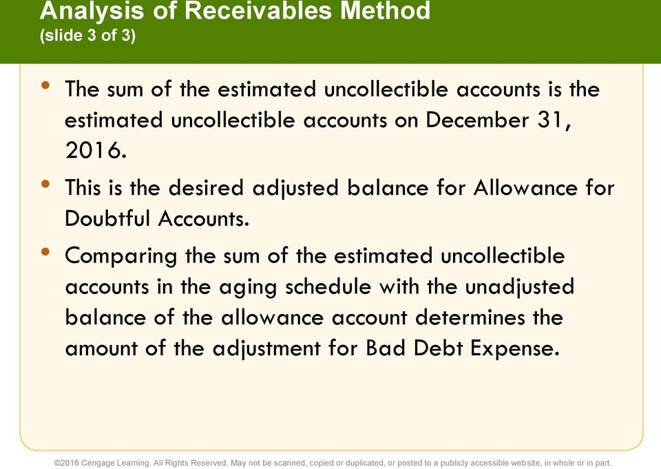 This is the desired adjusted balance for Allowance for Doubtful Accounts.