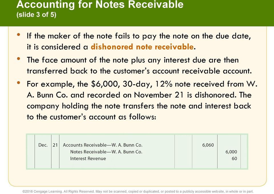 The face amount of the note plus any interest due are then transferred back to the customer s account receivable account.