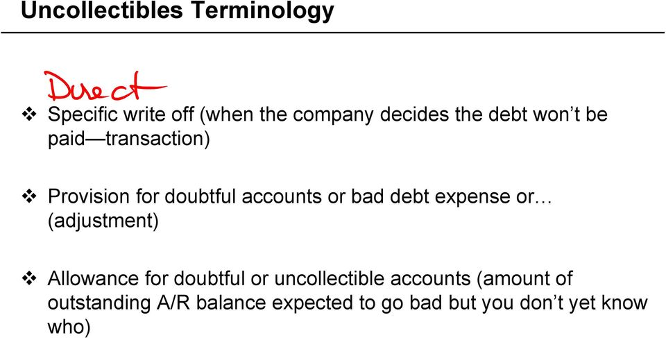 expense or (adjustment) Allowance for doubtful or uncollectible accounts