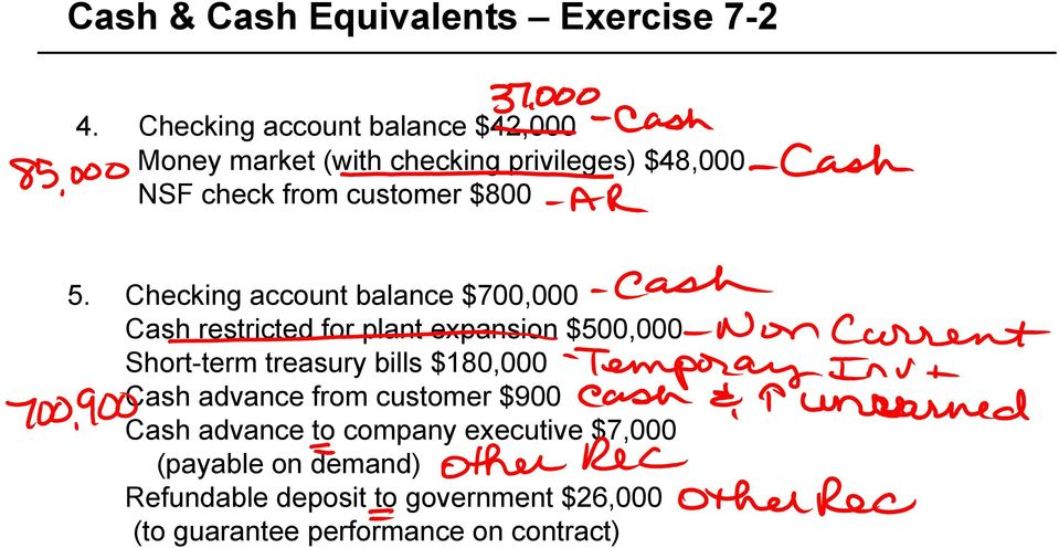 5. Checking account balance $700,000 Cash restricted for plant expansion $500,000 Short-term treasury bills