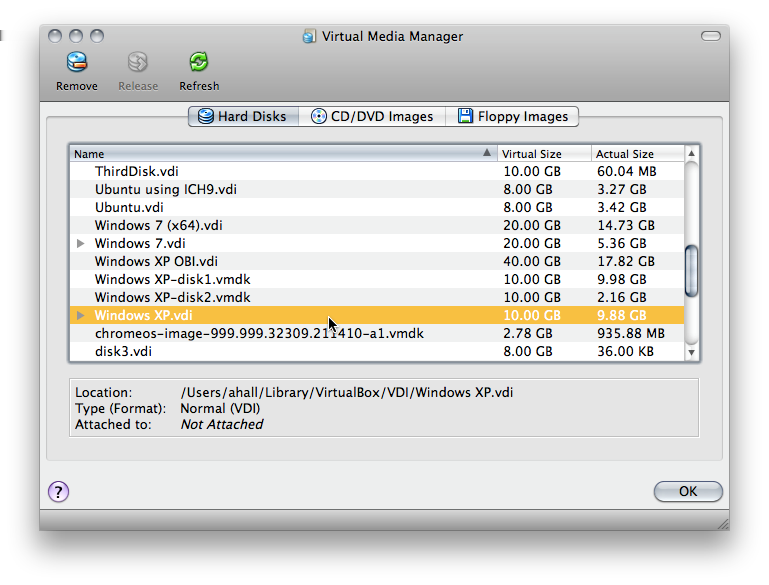 5 Virtual storage 5.3 The Virtual Media Manager VirtualBox keeps track of all the hard disk, CD/DVD-ROM and floppy disk images which are in use by virtual machines.