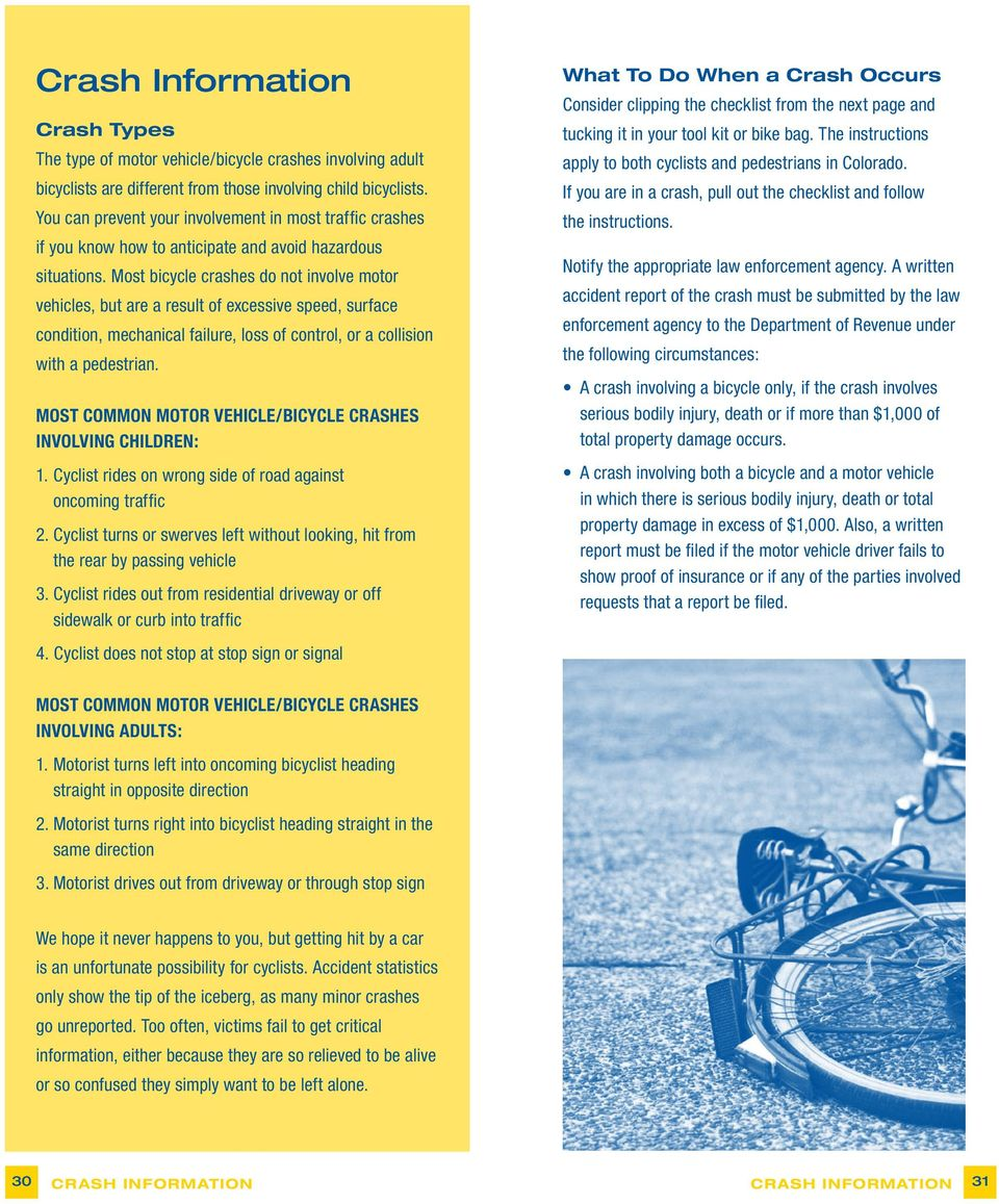 Most bicycle crashes do not involve motor vehicles, but are a result of excessive speed, surface condition, mechanical failure, loss of control, or a collision with a pedestrian.