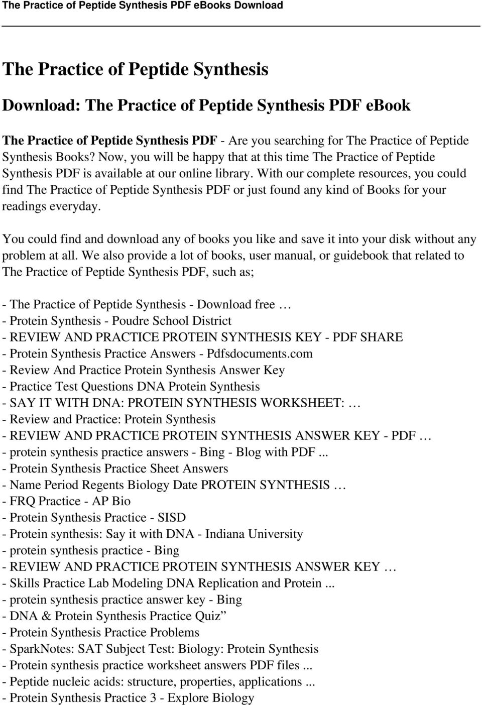 worksheet Protein Synthesis Worksheet Lesson Plans Inc 2007 the practice of peptide synthesis pdf with our complete resources you could find or just