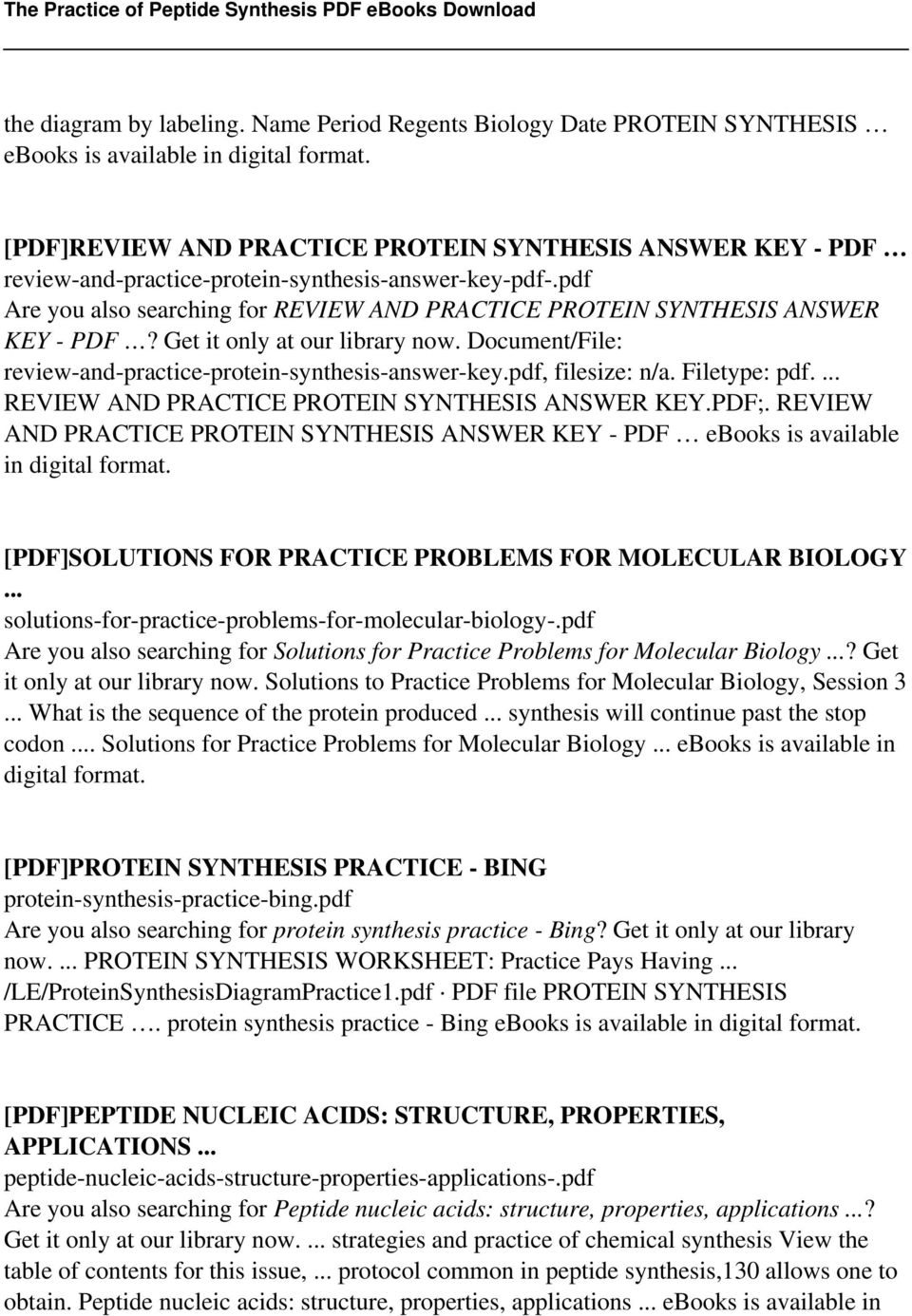 worksheet Protein Synthesis Worksheet Lesson Plans Inc 2007 the practice of peptide synthesis pdf filesize na filetype review