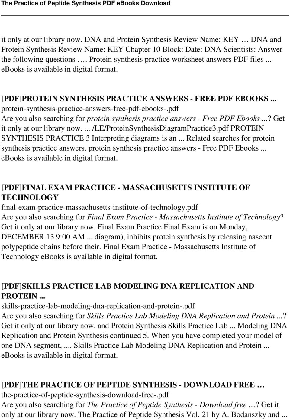 worksheet Protein Synthesis Worksheet Lesson Plans Inc 2007 the practice of peptide synthesis pdf are you also searching for protein answers free ebooks