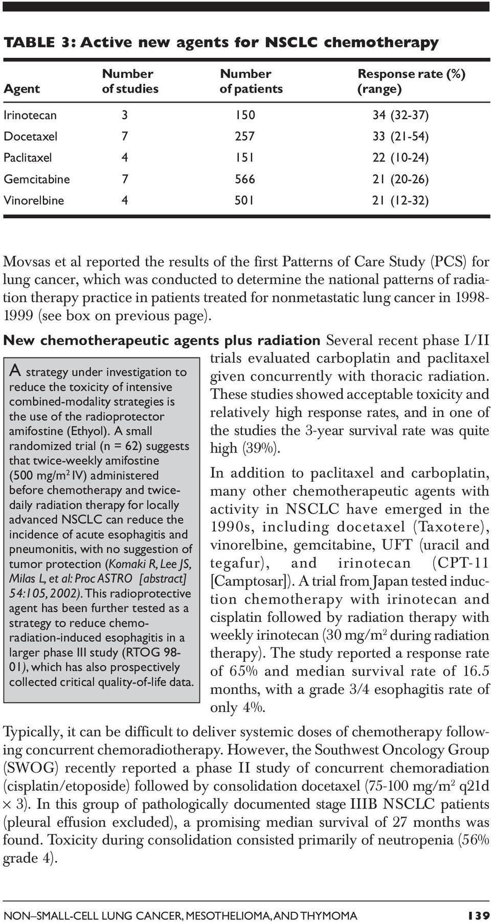 national patterns of radiation therapy practice in patients treated for nonmetastatic lung cancer in 1998-1999 (see box on previous page).