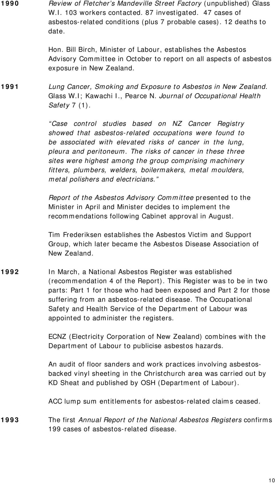 1991 Lung Cancer, Smoking and Exposure to Asbestos in New Zealand. Glass W.I; Kawachi I., Pearce N. Journal of Occupational Health Safety 7 (1).