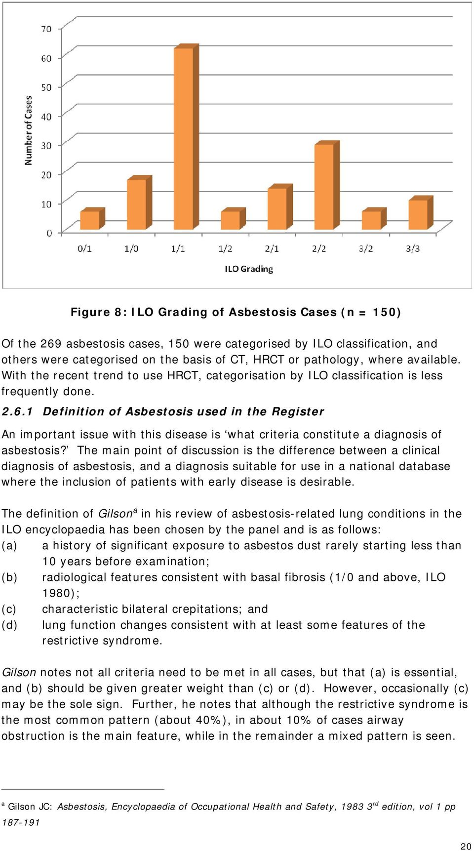 1 Definition of Asbestosis used in the Register An important issue with this disease is what criteria constitute a diagnosis of asbestosis?