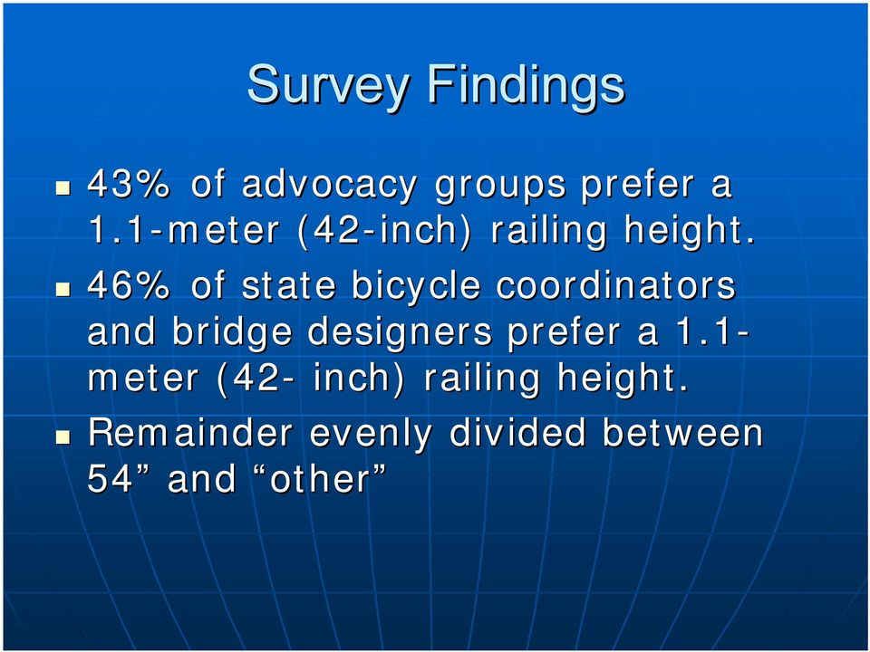 46% of state bicycle coordinators and bridge designers