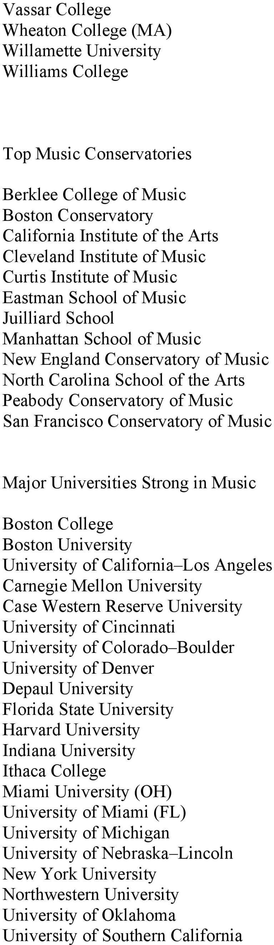 San Francisco Conservatory of Music Major Universities Strong in Music Boston College Boston University University of California Los Angeles Carnegie Mellon University Case Western Reserve University