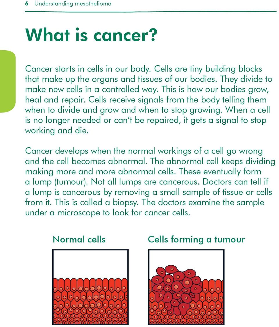 When a cell is no longer needed or can t be repaired, it gets a signal to stop working and die. Cancer develops when the normal workings of a cell go wrong and the cell becomes abnormal.