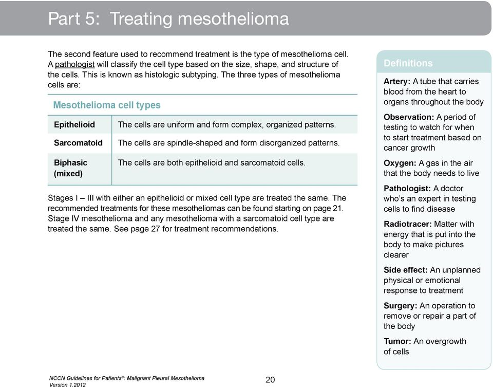 The three types of mesothelioma cells are: Mesothelioma cell types Epithelioid Sarcomatoid Biphasic (mixed) The cells are uniform and form complex, organized patterns.