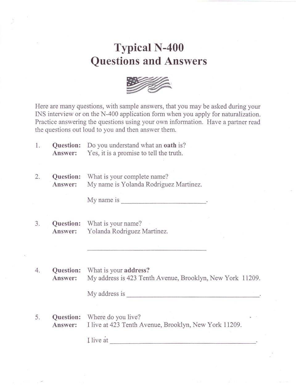 typical n questions and answers pdf do you understand yes it is a promise what an oath is to tell
